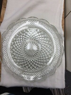 """14"""" Scalloped Edge Platter Wexford Anchor Hocking Clear Glass"""
