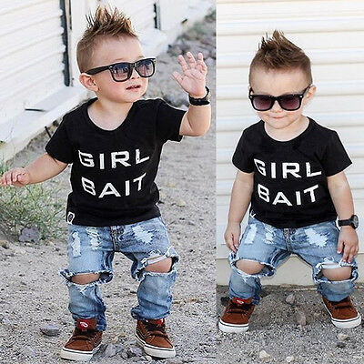 Newborn Baby Boys Girls Kids Casual T-shirt Tops+Long Pants Outfits Clothes Sets