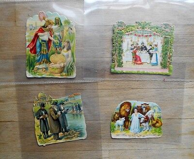 4 x Antique Judaica Victorian die-cut scraps inc' Moses, Family - Jewish, German