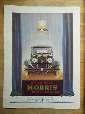 Vintage Morris Car advert 1931 original art deco