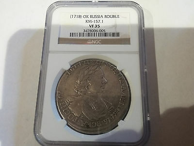 Rare 1718 Russia Peter the Great Large silver 1 Rouble NGC  VF 35