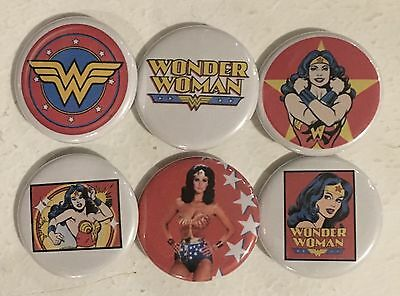 """Wonder Woman Lot of 6 1 1/4"""" Pinback Buttons or Kitchen Magnets !"""