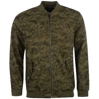 Firetrap Mens Camo Bomber Jacket Top Coat Elasticated Waistband Full Zip