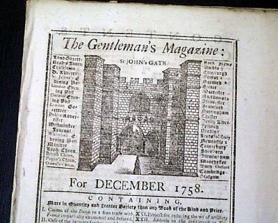 (3) 18th Century MAPS  North America & More French and Indian War 1758 Magazine
