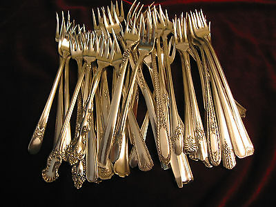 Lot of 50 Vintage Silverplate Seafood Cocktail Fork Wedding Restaurant Flatware
