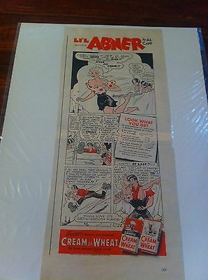 Vintage 1943 Cream Of Wheat Lil Abner Daisy Mae Jumps Off Suicide Cliff Print ad