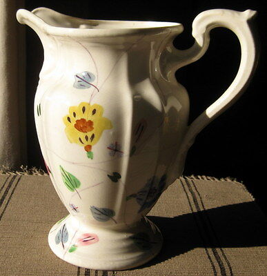 """BLUE RIDGE POTTERY: Hand Decorated Floral 8 1/2"""" Tall Water Pitcher"""