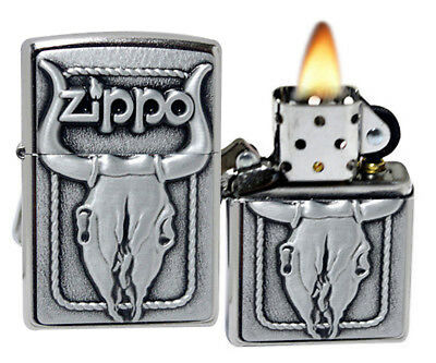 Zippo 20286 Bull Skull Emblem Street Chrome Windproof Pocket Lighter NEW