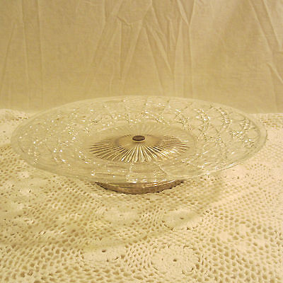"""Vintage 12"""" Round Cut Glass Platter Serving Dish W/Silver Plate Base"""