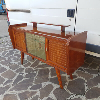 Magnificent Bar Cabinet Italian Design From 1950 Restored Cherry Tree Venered