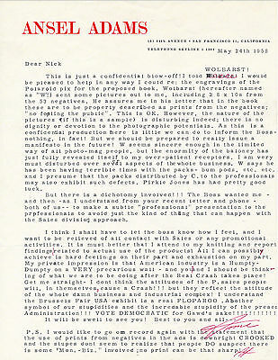Emotional 1958 Ansel Adams Letter About Polaroid Photography Autograph Signed