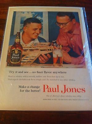 Vintage 1955 Paul Jones Whiskey Men Building Motorized Model Plane Print ad
