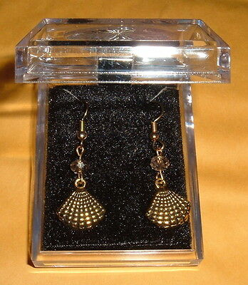 6mm Smoke  Crystal w/ Gold Plated SHELL Earrings Catholic Baptism