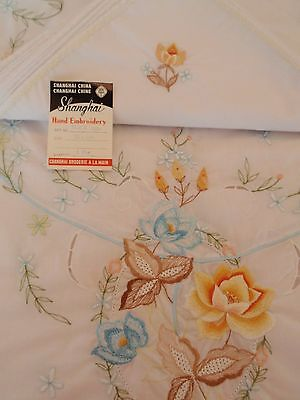 Vintage Oval Cotton Blend Tablecloth China Matching Napkins Set 8 Tulips Spring