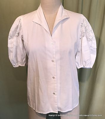 Vintage Square Dance Collection White Blouse Puffed Lace Short Sleeves Bust 36