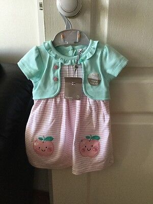 Bnwt Baby Girls Pink & Mint Cotton Dress Age  3-6 Months By Baby M & Co Rrp £12