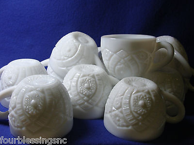 1950'S THATCHER McKEE HOBSTAR MILK GLASS (CONCORD) PUNCH CUPS-SET OF 12-PERFECT
