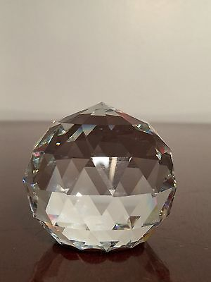 New in Box SWAROVSKI CRYSTAL 50mm ROUND FACETED SPHERE GLOBE PAPERWEIGHT 9404