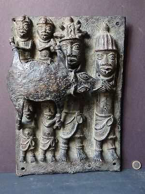 Rare Large Benin Bronze Plaque Tribal Nigeria Oba King & Followers