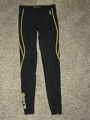 Skins A-200 Compression Stretch Pants Yxl Youth Extra Large Black/yellow Accent