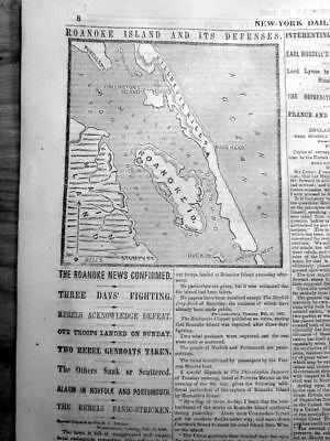 1862 Civil War newspaper w Map OUTER BANKS North Carolina NAGS HEAD Oregon Inlet