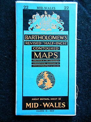 Vintage Ordnance Survey Folding Map of Mid Wales - 1952 -  Gt Britain Sheet 22