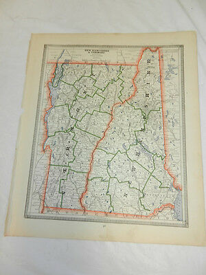 1884 Cram Antique COLOR Map/NEW HAMPSHIRE, VERMONT, b/w MASSACHUSETTS, CONNECTIC