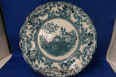Antique Colonial Pottery Stoke Teal Green Cabinet Plate Transferware