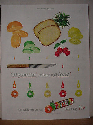 1953 Life Savers Lifesavers Candy Cut yourself in Flavors Vintage Print Ad 10470
