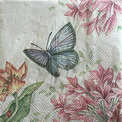 2 Paper Napkins Decoupage Floral Butterfly Meadow Beverage Craft Gibson