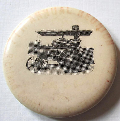 Vintage Old Pinback B&W Pinback Steam Engine Farm Tractor Faint Red Rim Writing