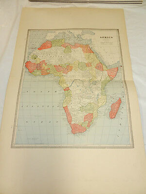 1884 Cram Map///AFRICA, b/w OCEANICA AND EGYPT, ARABIA, UPPER NUBIA, ABYSSINIA