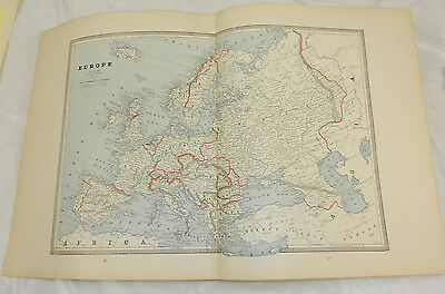 1884 Cram Antique COLOR Map///EUROPE, b/w ENGLAND AND WALES