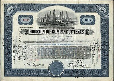 Houston Oil - Co Of Texas, 1943, Preferred, Issued Stock Certificate