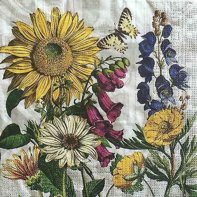 4 Paper Napkins Decoupage Sunflower Floral Luncheon Craft ppd