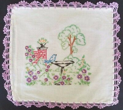 """Vintage Boudoir Embroidered 11"""" Pillow Case with Chrocheted Lavender Lace Edge"""