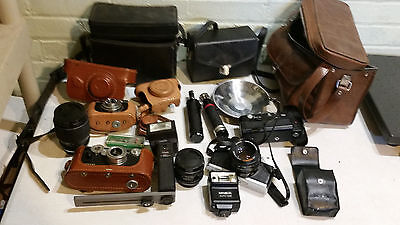 Lot of Vintage Cameras and parts - argus, bolsey, focal