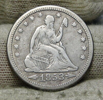 1853-O Seated Liberty Quarter 25 Cents Semi-Key Date Free Shipping (5897)