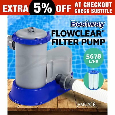 1500GPH Bestway Flowclear™ Filter Pump Filters Swimming Pool Cleaner 9463L/H