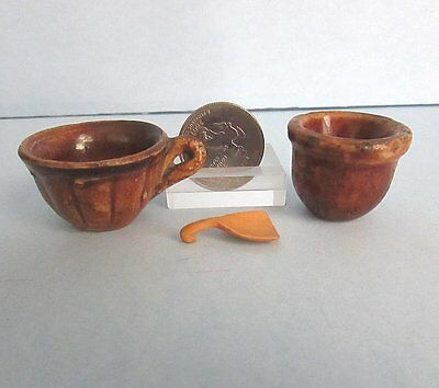 2 Rockingham CUP Mixing Bowl Yellowware Miniature DOLL Child Tea Set Vintage