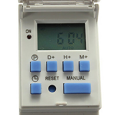 New DIN Rail Digital LCD Power Programmable Timer DC 12V 16A Time Relay Switch