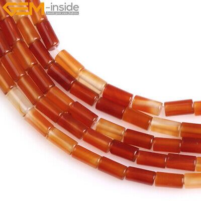 Natural Stone Column Sardonyx Agate Tube Cylinder Beads For Jewelry Making 15""