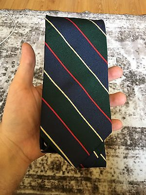 Brooks Brothers Repp Stripe Tie Green Yellow Red Blue Silk USA Prep Trad Classic
