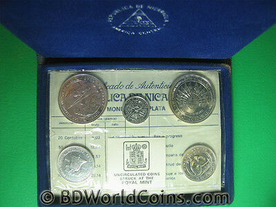 1975 Nicaragua (5) Coins Silver Bu Mint Set Ms2 Earthquake Relief Issue Box+Coa
