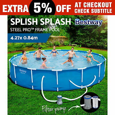 Bestway Steel Pro™ Frame Swimming Pool Above Ground Filter Pump 4.27 x 0.84M