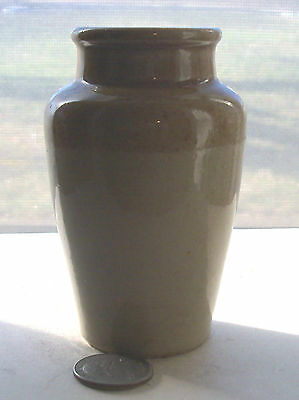 VINTAGE POTTERY JAR - TWO TONE(brown & white)