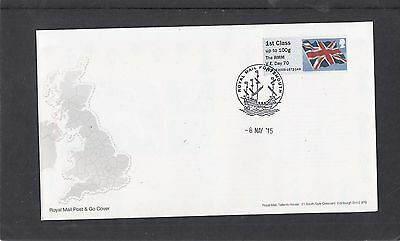 GB 2015 Post & Go Frama ATM Union Flag single 1st RMM VE Day 70 FDC Portsmouth p