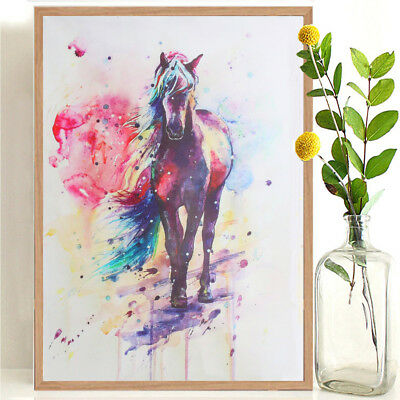 """Multicolored Horse"" Canvas Print Wall Art Painting Picture HD Unframed Decor UK"