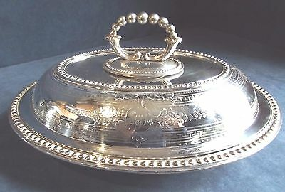 """SMART Large 12"""" Ornate ~ SILVER Plated ~ Engraved SERVING Dish ~ c1910"""