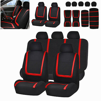 Full Set Car Seat Covers Polyester For Auto Truck Van SUV 5 Heads Red & Black